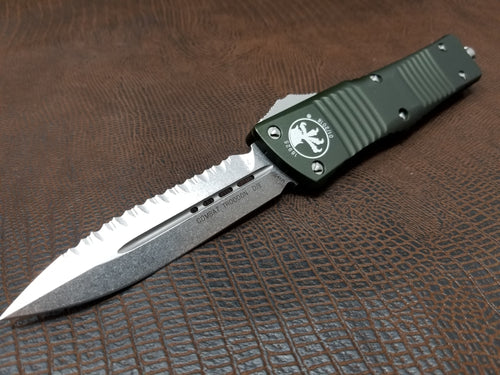 Combat Troodon D/E Full Serrated OD Green Stonewash 142-12OD