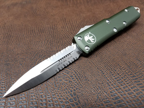 Microtech UTX-85 D/E Satin OD Green Part Serrated Automatic OTF 232-5OD