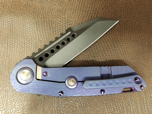 Marfione Custom Warhound Folder DLC Two-Tone Apoc Purple Haze Bark Ti