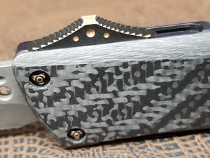 Marfione Custom Combat Troodon Hellhound Damascus Carbon Fiber Pre-Owned