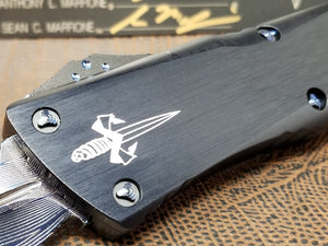 Marfione Custom Combat Troodon D/E Vegas Forge Herringbone Damascus Blue Ring