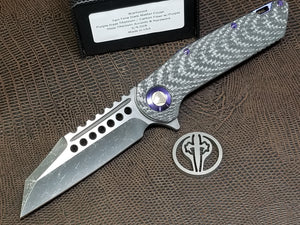 Marfione Custom Warhound Folder Dark Matter Purple Haze Carbon Fiber