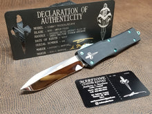 Marfione Custom Combat Troodon Recurve Mirror Polished Antique Green S/N 006 match business card