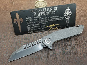 Marfione Custom Warhound Folder Flamed Backspacer, DLC APOC Blade, Carbon Fiber Top