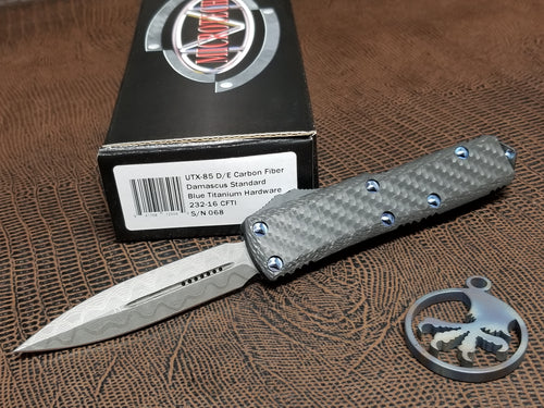 Microtech UTX-85 D/E OTF Automatic Knife Carbon Fiber w/ Blue Ti HW 3.1