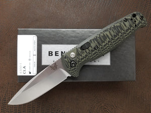 Benchmade CLA Drop Point Automatic Knife Black Satin Green G-10 4300-1