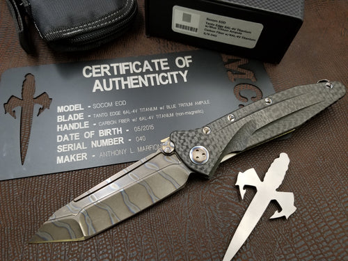 Marfione Custom EOD Socom Elite Manual Carbon Fiber Flamed Ti