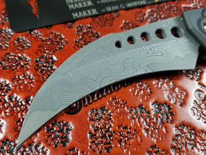 Marfione Custom Hawk Automatic Knife Stingray Skin CTS-XHP Core Damascus