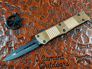 Microtech Troodon D/E Copper Top Signature Series Automatic Knife Black 138-1CPSS