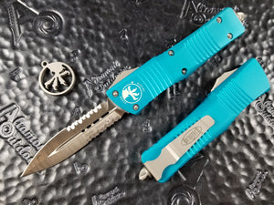 Microtech Combat Troodon D/E Partial Serrated Satin Turquoise 142-5TQ