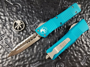 Microtech Combat Troodon D/E Full Serrated Satin Turquoise 142-6TQ