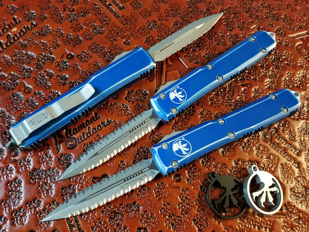 Microtech Ultratech 122-D12DBL Distressed Blue Apocalyptic Double Edge Full Serrated both sides (Double Double)
