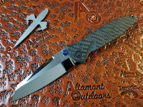 Marfione Custom Socom Elite Manual Warcom *Mirror Polished *Carbon Fiber *Flamed Backspacer *Blue Ti Hardware