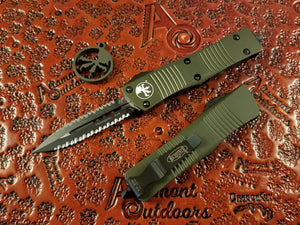 Microtech Troodon D/E OTF Full Serrated Double Double OD Green 138-D3OD