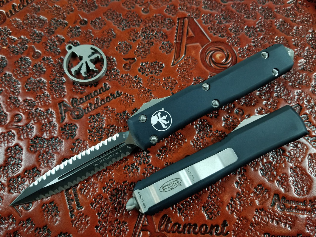 Microtech Ultratech 122-D3 Black Double Edge Full Serrated both sides (Double Double)