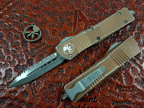 Microtech Combat Troodon D/E Full Serrated Distressed Tan Apocalyptic 142-12DTA