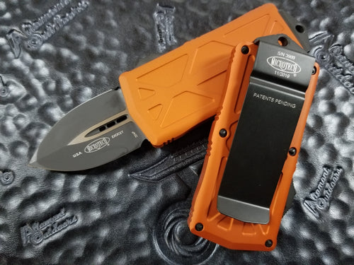 Microtech Exocet Dagger Orange 157-1OR California Legal OTF Automatic Knife Money Clip