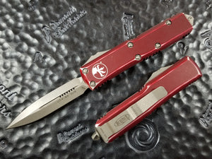 Microtech UTX-85 D/E Distressed Merlot Red Stonewashed Standard 232-10DMR
