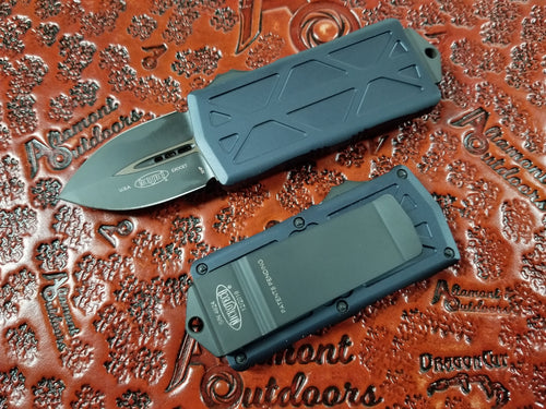 Microtech Exocet Dagger Black Tactical 157-1T California Legal OTF Automatic Knife Money Clip