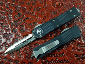 Microtech Troodon D/E OTF Full Serrated Double Double Satin 138-D6