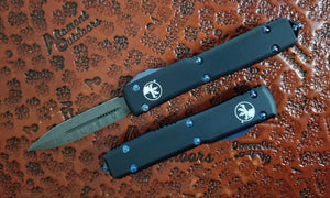 Microtech Ultratech D/E Damascus Blue TI OTF Automatic Knife 122-16Ti