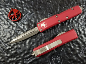 Microtech UTX-85 D/E Red Stonewash Full Serrated Automatic OTF 232-12RD