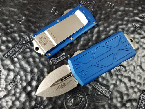 Microtech Exocet Dagger Blue Stonewashed 157-10BL California Legal OTF Automatic Knife Money Clip