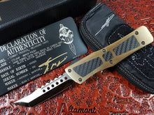 Marfione Custom Combat Troodon Hellhound Brass Handle Mirror Polished Carbon Fiber Inlay & Button Bronze Ring Ti Hardware