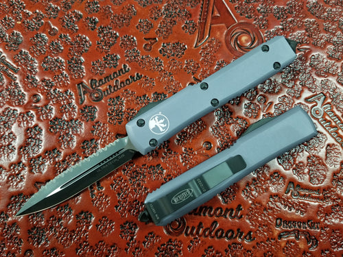 Microtech Ultratech D/E Gray Full Serrated 122-3GY OTF