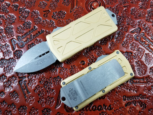 Microtech Exocet Dagger Apocalyptic Champagne Gold 157-10APCG California Legal OTF Automatic Knife Money Clip