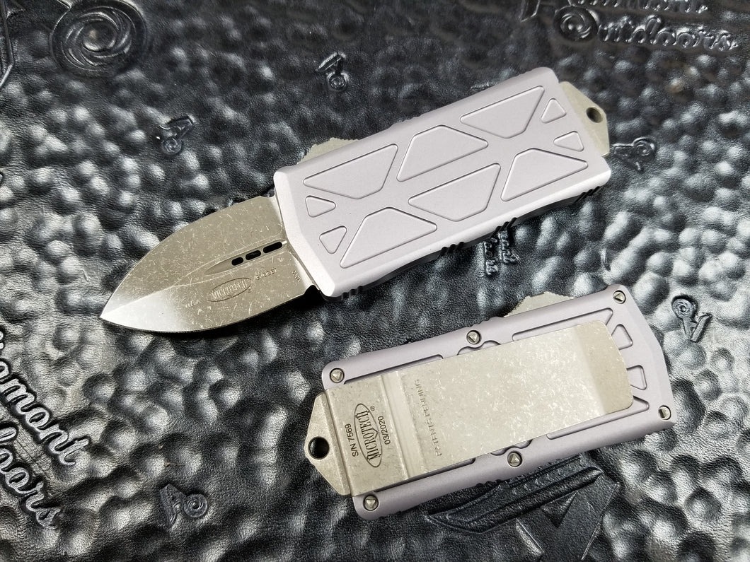 Microtech Exocet Dagger Apocalyptic Gray 157-10APGY California Legal OTF Automatic Knife Money Clip
