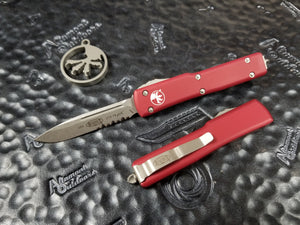 Microtech UTX-70 Single Edge Part Serrated Stonewash Red 148-11RD