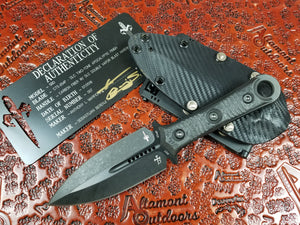007 Marfione Custom SBD Fixed Blade DLC Two Tone Apoc with Carbon Fiber Handle Pre-Owned