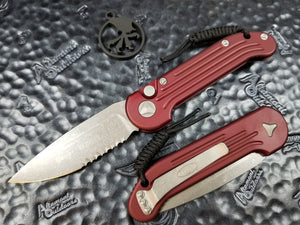 Microtech LUDT Merlot Red Apocalyptic Part Serrated 135-11APMR