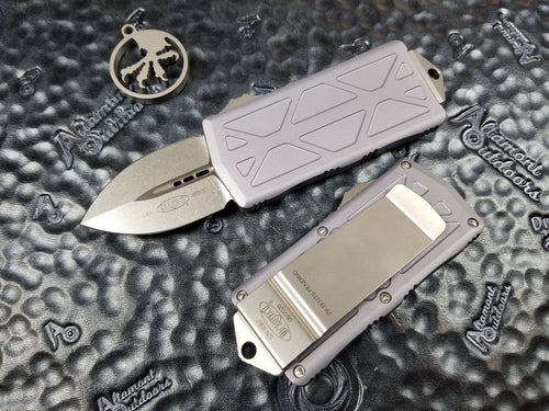 Microtech Exocet Dagger Stonewashed Gray 157-10GY California Legal OTF Automatic Knife Money Clip