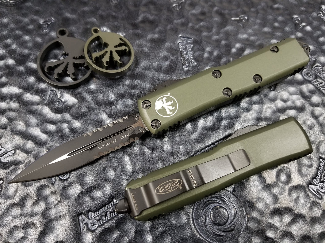 Microtech UTX-85 D/E OD Green Part Serrated 232-2OD