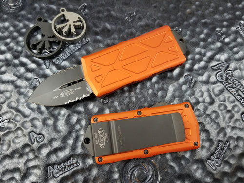 Microtech Exocet Dagger PART SERRATED Orange 157-2OR California Legal OTF Automatic Knife Money Clip