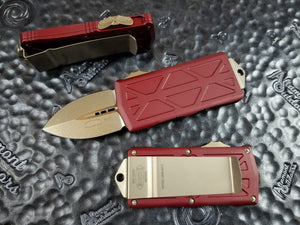 Microtech Exocet Dagger Merlot Red Bronze 157-13MR California Legal OTF Automatic Knife Money Clip