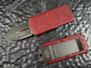 Microtech Exocet Dagger Merlot Red Part Serrated 157-2MR California Legal Money Clip