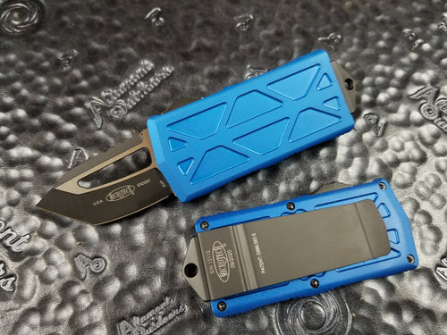 Microtech Exocet Tanto Blue 158-1BL California Legal OTF Automatic Knife Money Clip