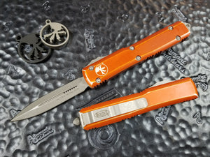 Microtech Ultratech D/E Stonewashed Orange Distressed 122-10DOR