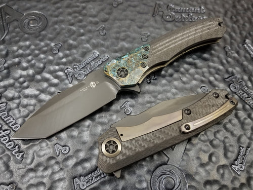 Heretic Knives Wraith Manual Flipper Carbon Fiber Handle with Chemtina Bolster, DLC Tanto