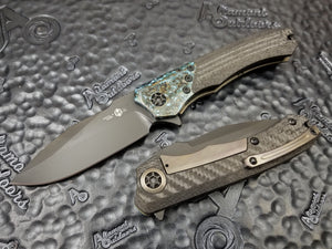Heretic Knives Wraith Manual Flipper Carbon Fiber Handle with Chemtina Bolster, DLC Single Edge