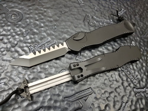 Heretic Knives Hydra Black Handle Two-Tone DLC Blade Tanto