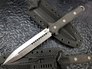 Heretic Knives Nephilim Double Edge Fixed Blade Stonewashed Carbon Fiber Scales