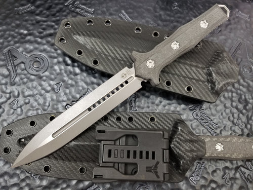 Heretic Knives Nephilim Double Edge Fixed Blade Battleworn Carbon Fiber Scales