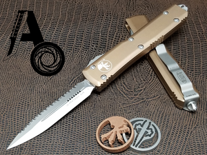 Microtech Ultratech D/E Satin 122-6TA Full Serrated Tan