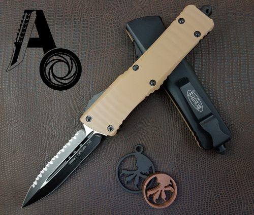 Microtech Combat Troodon Standard D/E 142-3GTTA Tan G10 Full Serrated