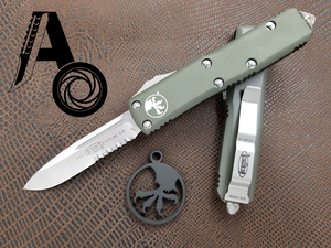 Microtech UTX-85 S/E Satin OD Green Part Serrated 231-5OD