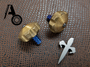 Mini Spin Top Brass with Blue Ti Stem